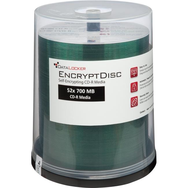 DataLocker EncryptDisc CD-R Self-Encrypting Optical Media - 100 Pack