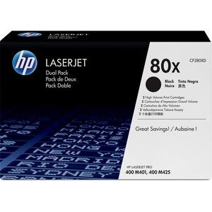 HP 80X CF280XD High Yield Black Original LaserJet Toner Cartridge - 2 pack