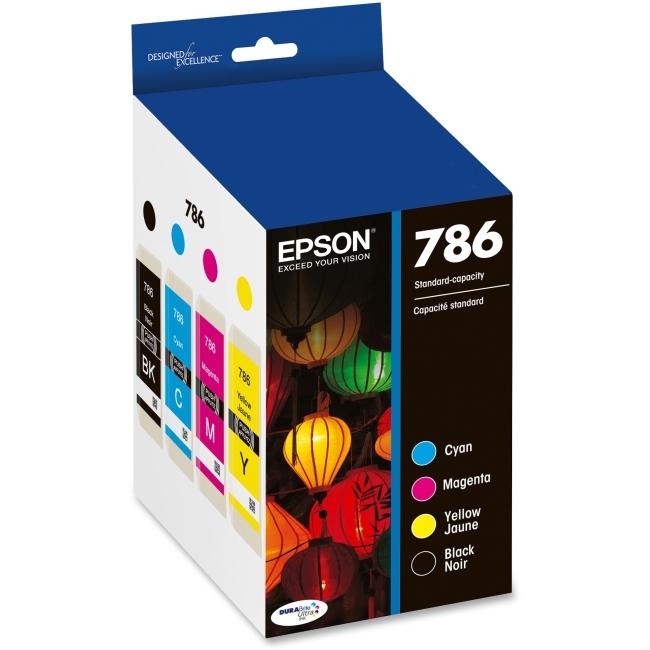 Epson 786, Black and Color Ink Cartridges, C/M/Y/K 4-Pack (T786120-BCS)