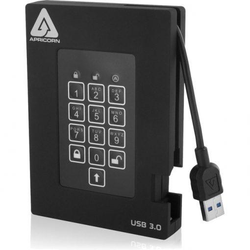 Apricorn Aegis Padlock Fortress 2TB Encrypted USB 3.0 Hard Drive with PIN Access