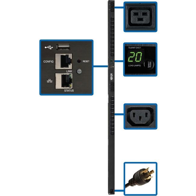 Tripp Lite PDU Switched 3.2-3.8kW 200-240V 20 C13;4 C19 LX Platform 0U TAA