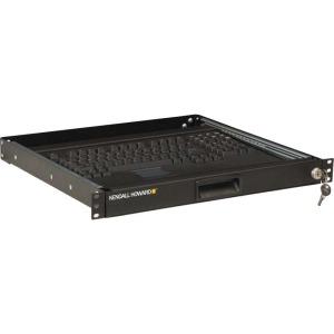 """Kendall Howard 19"""" 1U Rackmount 2-Post Keyboard Tray - Black"""