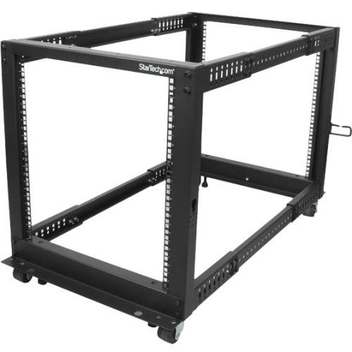 StarTech 12U Adjustable Depth Open Frame 4 Post Server Rack w/ Casters