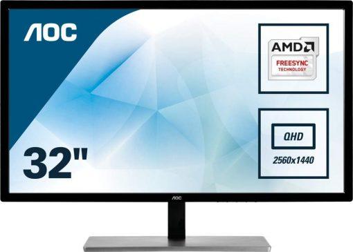 "AOC Q3279VWFD8 31.5"" 75Hz FreeSync LED LCD IPS FlickerFree Monitor, Refurbished"