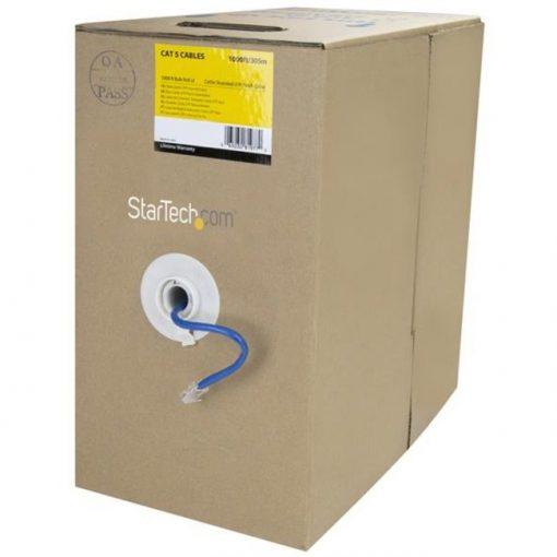 StarTech 1000 ft Bulk Roll of Blue Cat5e Stranded UTP Patch Cable