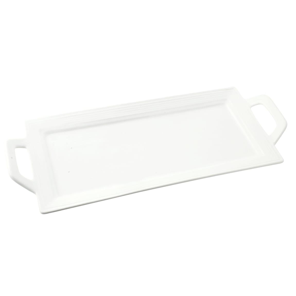 """10 Strawberry Street WTR-12EMBHNDLPLTR Rectangular Whittier Platter - 12"""" x 5"""", Porcelain, White"""