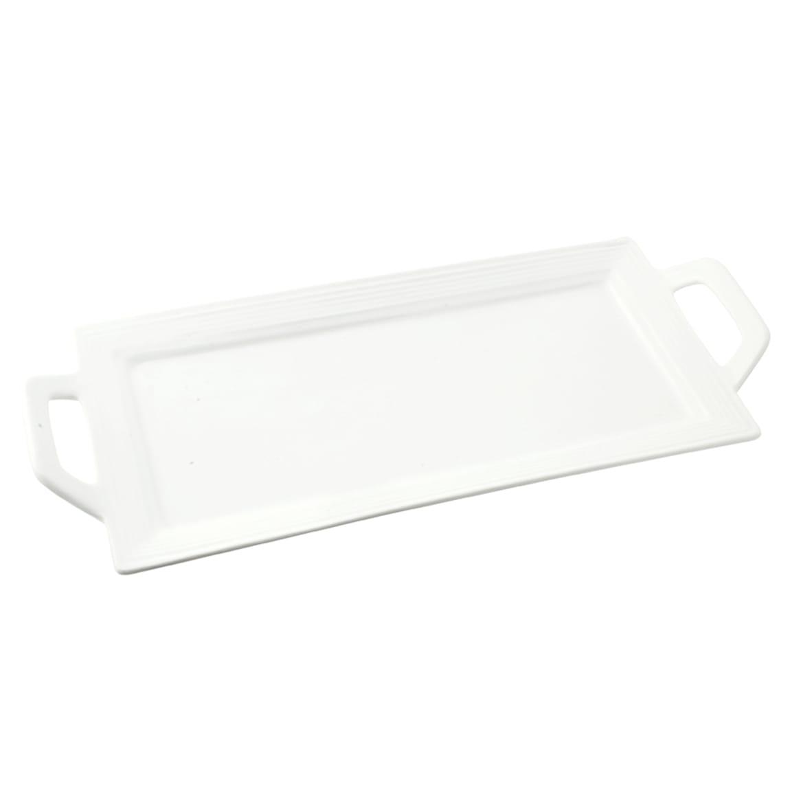 """10 Strawberry Street WTR-13EMBHNDLPLTR Rectangular Whittier Platter - 13"""" x 6"""", Porcelain, White"""