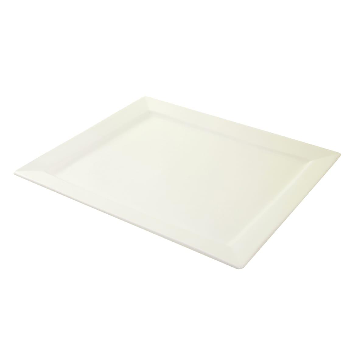 """10 Strawberry Street WTR-17-15REC Rectangular Whittier Platter - 17.25"""" x 14.63"""", Porcelain, White"""