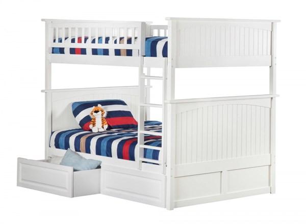 Atlantic Furniture Nantucket White Raised Panel Drawers Full Over Full Bunk Bed