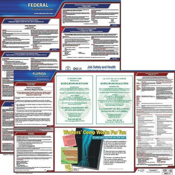 JJ KELLER LaborLaw Poster, Fed/STA, FL, ENG, 20inH, 5yr