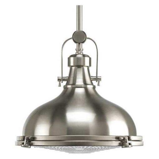 PROGRESS LIGHTING Fresnel Lens 1-Light Pendant, 100 W, Brushed Nickel