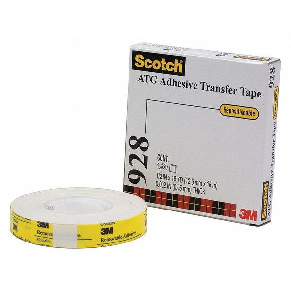 SCOTCH Repositionable Trnsfr Tape, 2.0 Ml, 3/4x18 yds., Wht, PK6