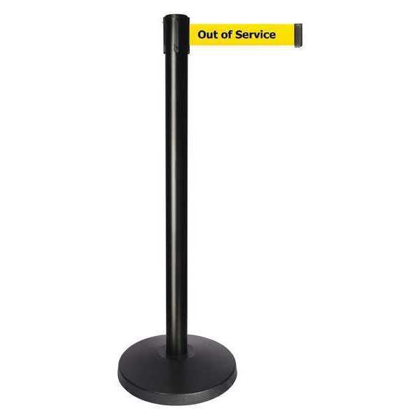 QUEUEWAY Barrier Post, 10 ft Belt L, Out of Service