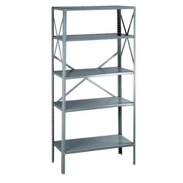 "ZORO SELECT Metal Shelving Unit, 18""D x 36""W x 75""H, 5 Shelves, Steel"