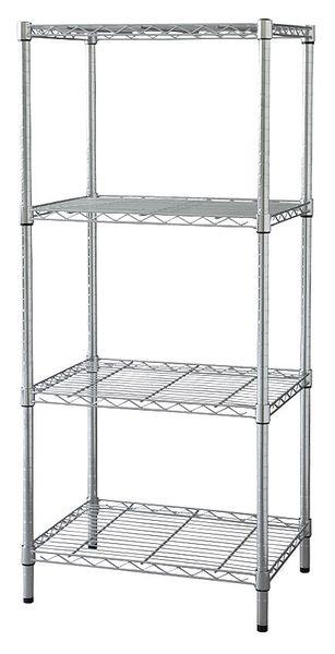 "ZORO SELECT Wire Shelving Unit, 24""D x 36""W x 74""H, 4 Shelves, Chrome"