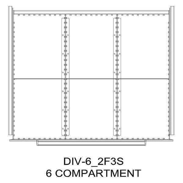 "GREENE MANUFACTURING, INC. Divider Kit, 6 Comp, 56""Wx24""D, 200/225 Dwr"