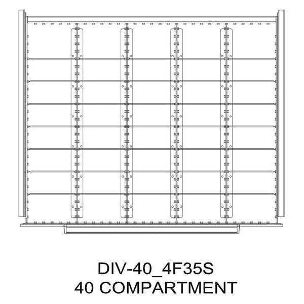 "GREENE MANUFACTURING, INC. Divider Kit, 4 Comp0, 36""Wx28""D, 75 Drawer"