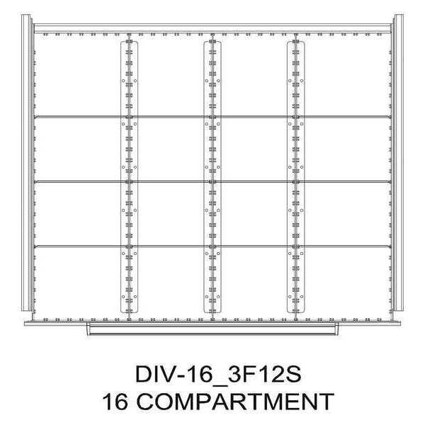"GREENE MANUFACTURING, INC. Divider Kit, 16 Comp, 36""x28"", 150/175 Dwr"